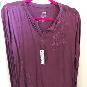 Purple LS Top with Flowers NWT